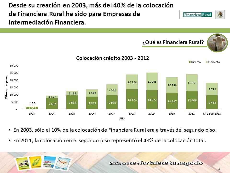 Desde su creación en 2003, más del 40% de la colocación de Financiera Rural ha sido para Empresas de Intermediación Financiera.