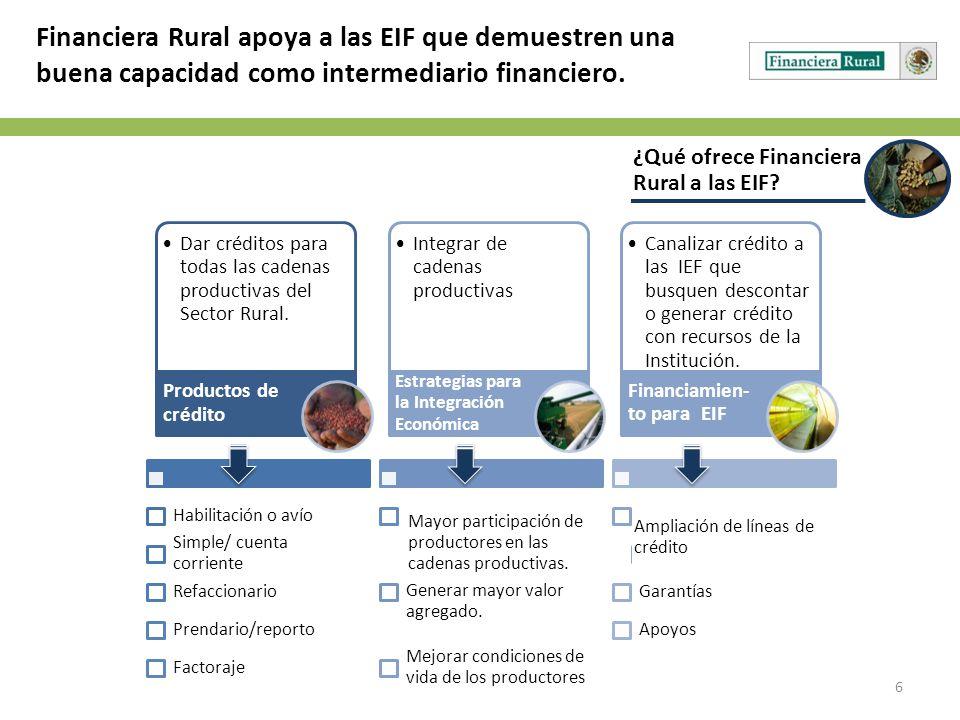 Financiera Rural apoya a las EIF que demuestren una buena capacidad como intermediario financiero.
