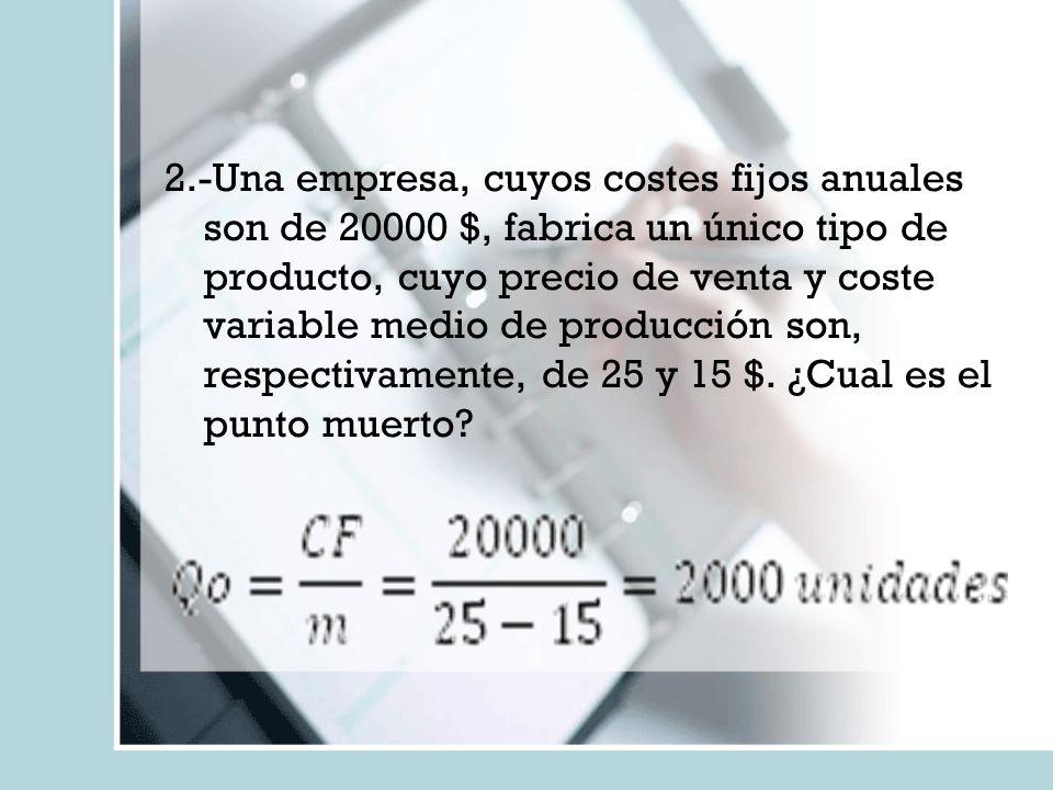 2.-Una empresa, cuyos costes fijos anuales son de 20000 $, fabrica un único tipo de producto, cuyo precio de venta y coste variable medio de producción son, respectivamente, de 25 y 15 $.