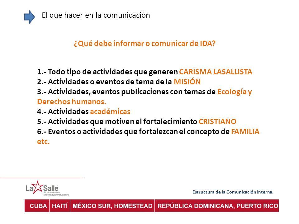¿Qué debe informar o comunicar de IDA