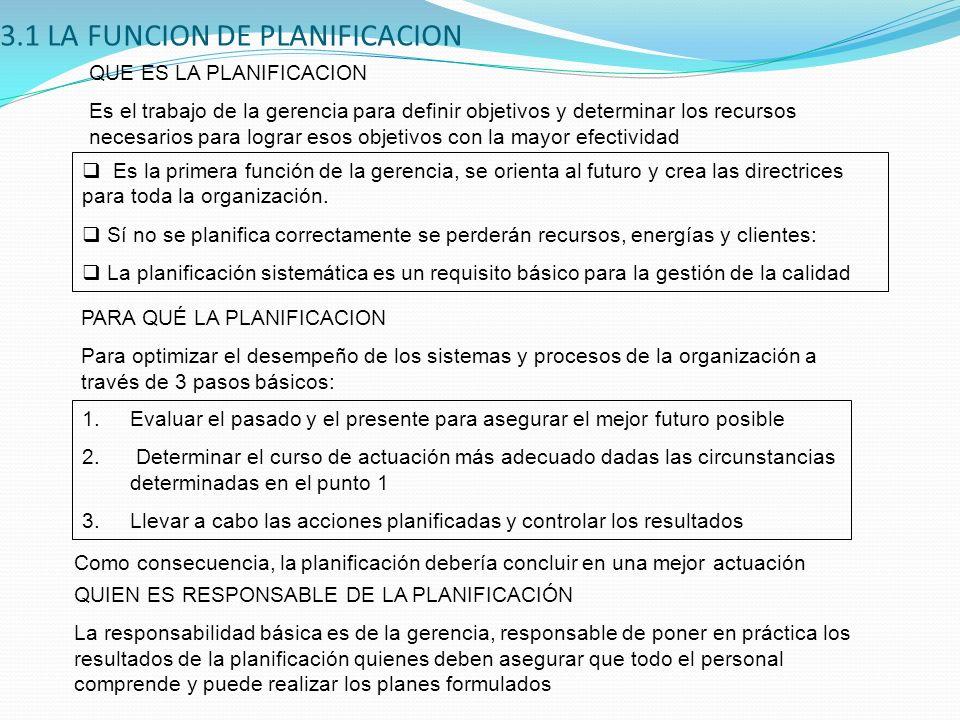 3.1 LA FUNCION DE PLANIFICACION