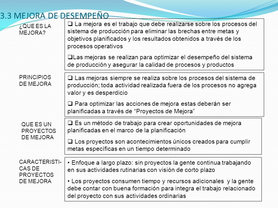3.3 MEJORA DE DESEMPEÑO
