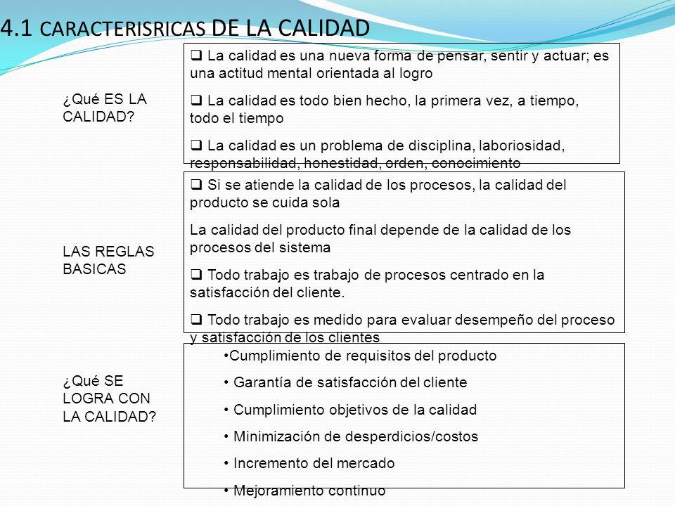 4.1 CARACTERISRICAS DE LA CALIDAD