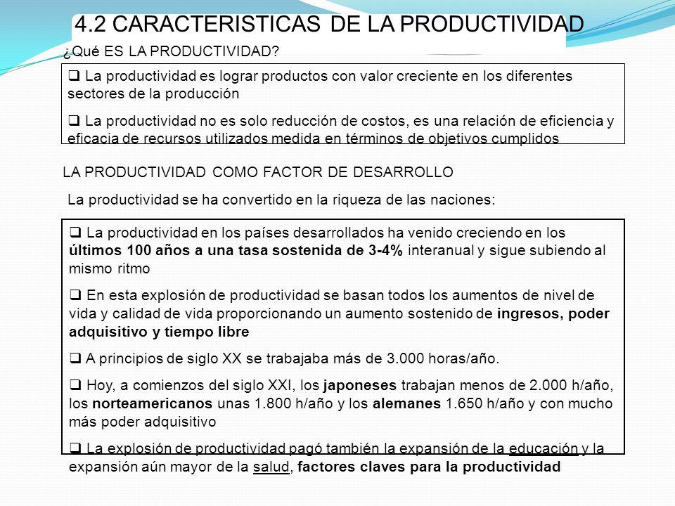 4.2 CARACTERISTICAS DE LA PRODUCTIVIDAD