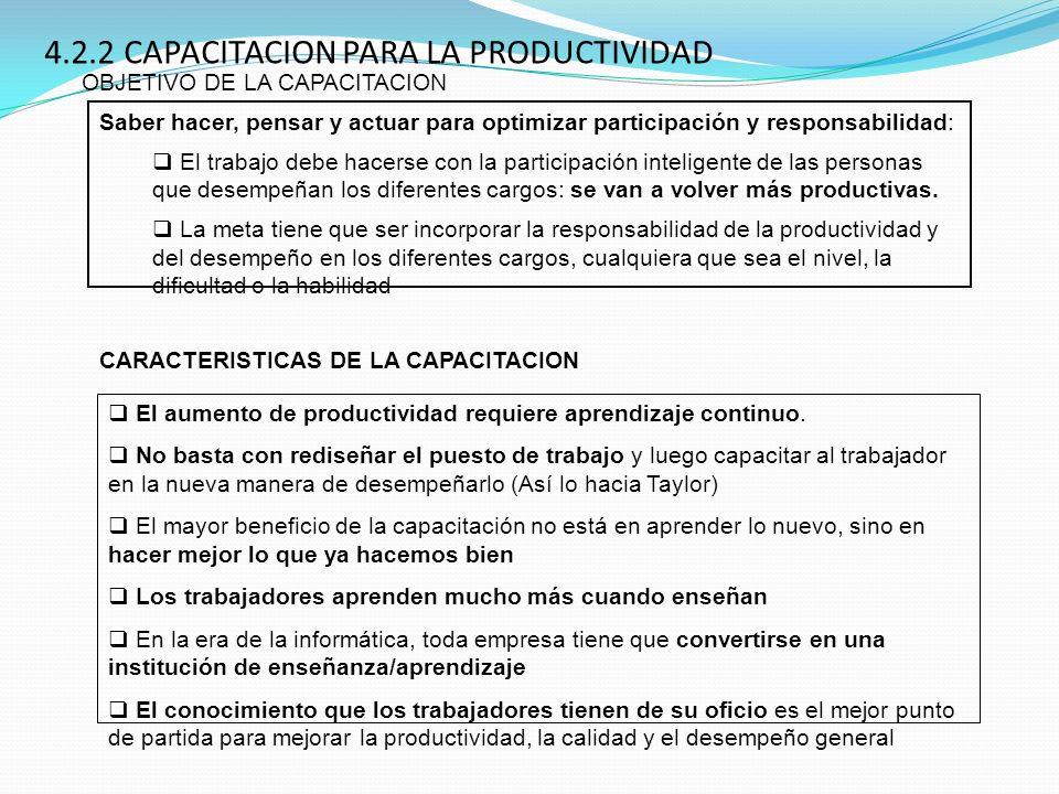 4.2.2 CAPACITACION PARA LA PRODUCTIVIDAD