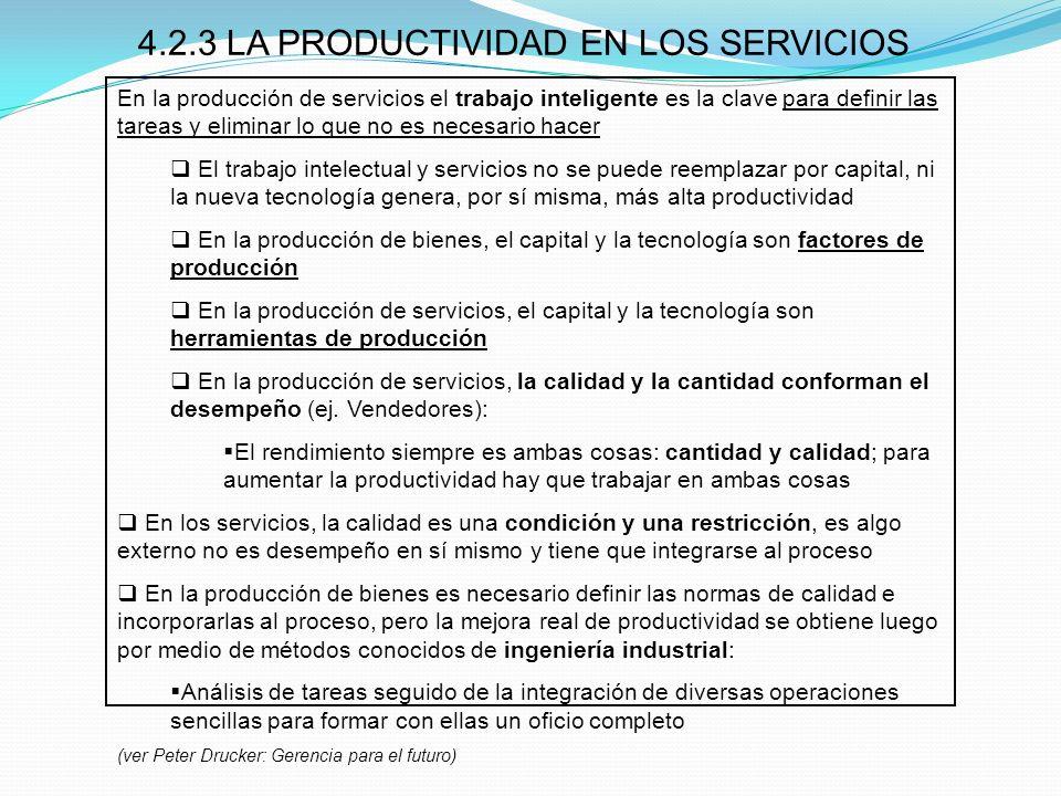 4.2.3 LA PRODUCTIVIDAD EN LOS SERVICIOS