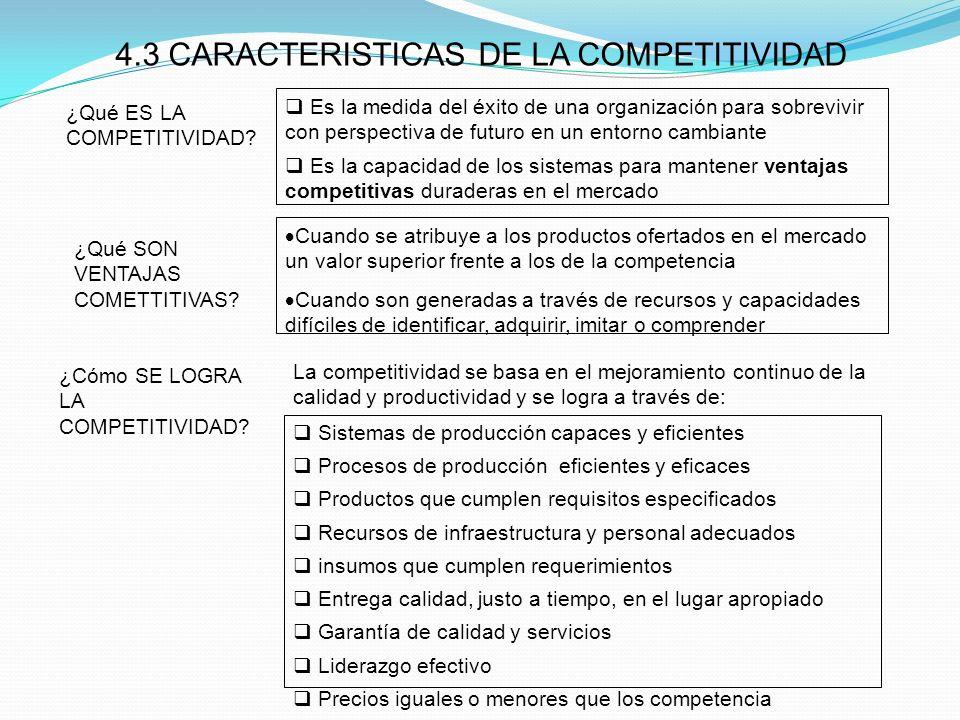 4.3 CARACTERISTICAS DE LA COMPETITIVIDAD