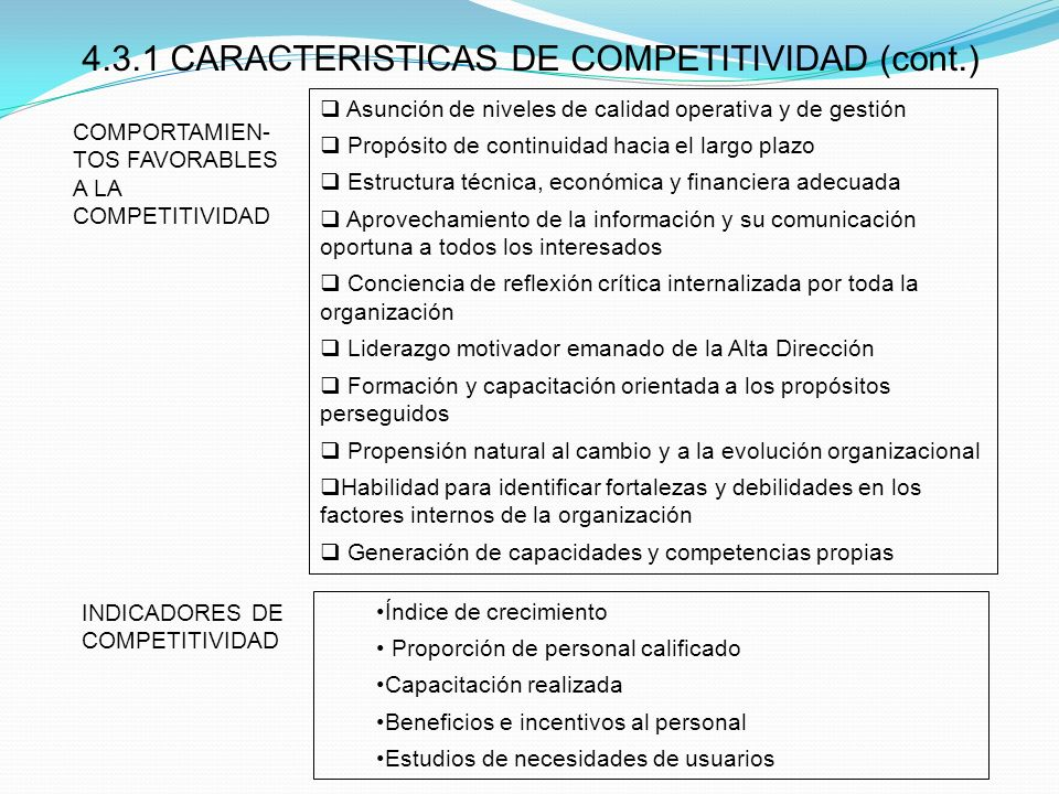 4.3.1 CARACTERISTICAS DE COMPETITIVIDAD (cont.)