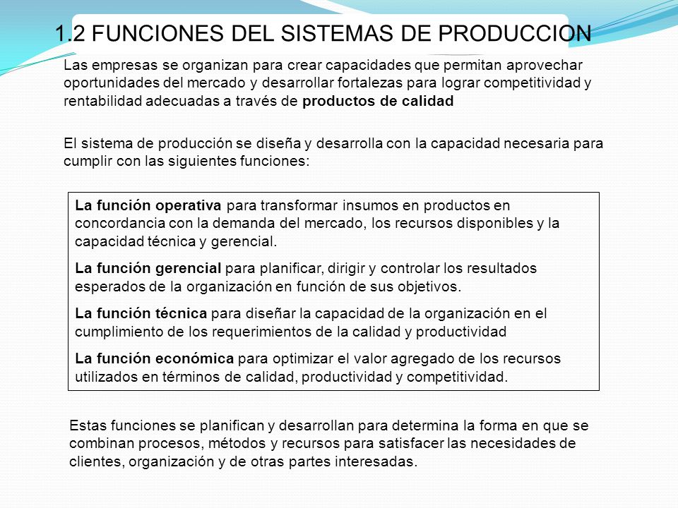 1.2 FUNCIONES DEL SISTEMAS DE PRODUCCION