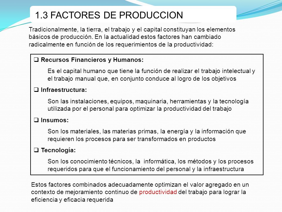 1.3 FACTORES DE PRODUCCION