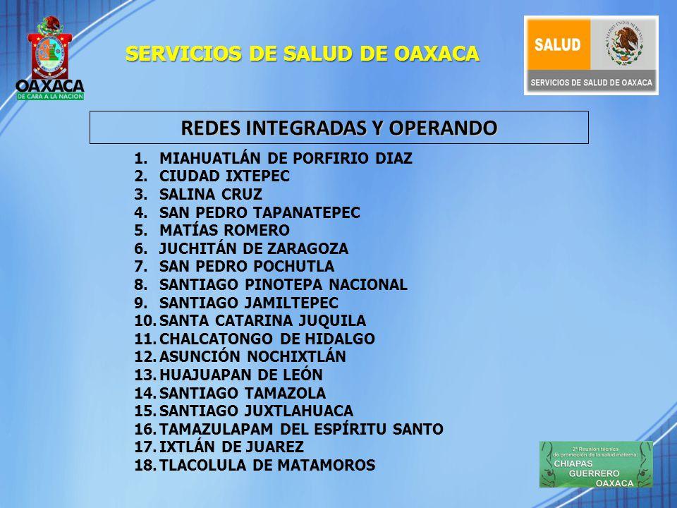 SERVICIOS DE SALUD DE OAXACA REDES INTEGRADAS Y OPERANDO