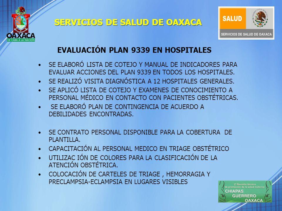 EVALUACIÓN PLAN 9339 EN HOSPITALES