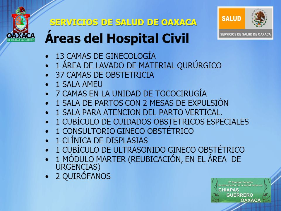 Áreas del Hospital Civil