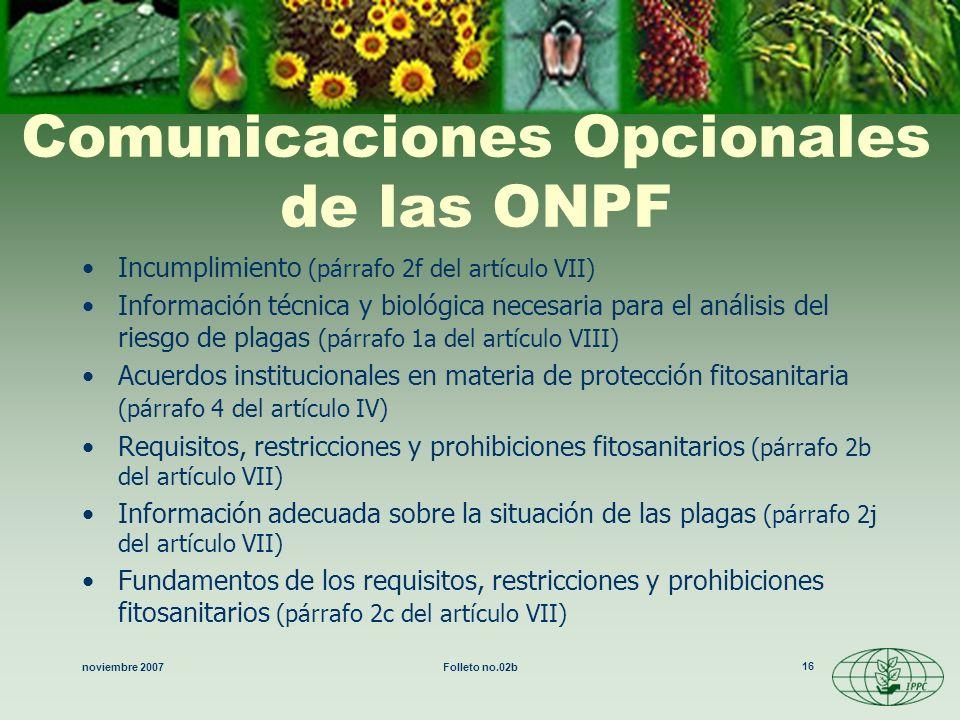 Comunicaciones Opcionales de las ONPF