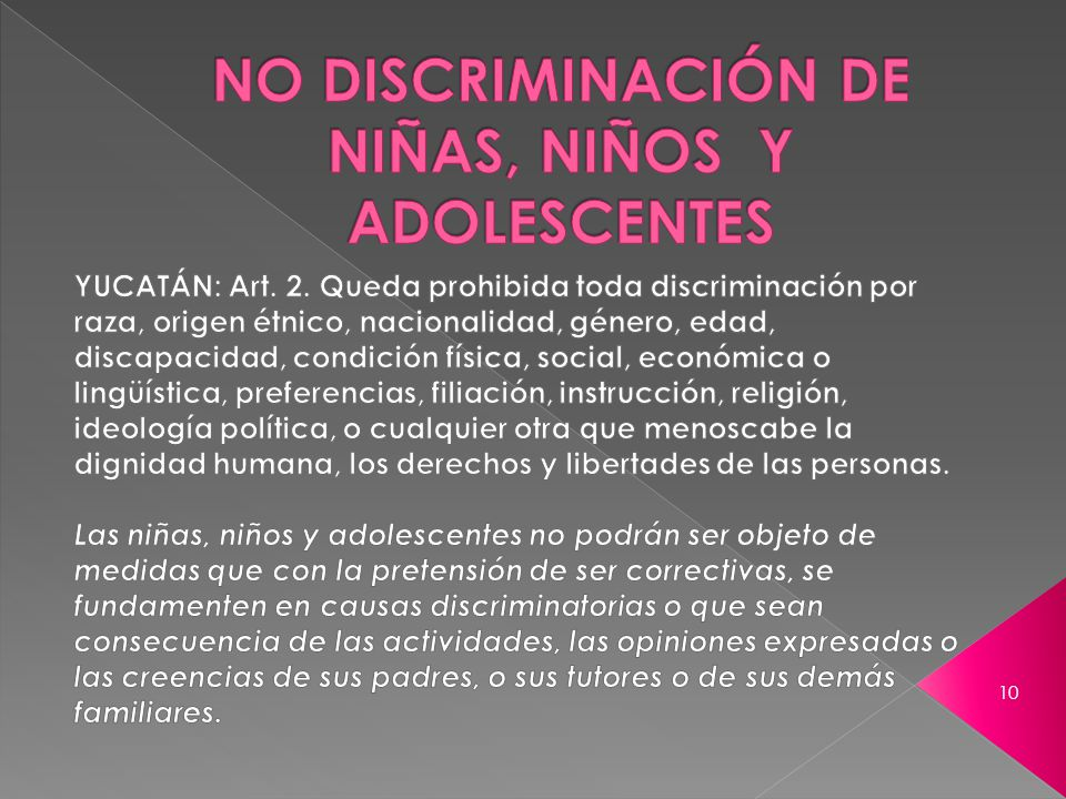 NO DISCRIMINACIÓN DE NIÑAS, NIÑOS Y ADOLESCENTES