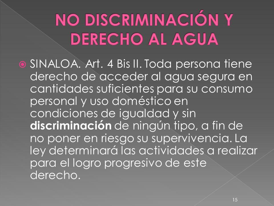 NO DISCRIMINACIÓN Y DERECHO AL AGUA