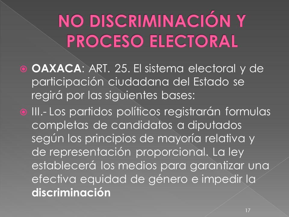 NO DISCRIMINACIÓN Y PROCESO ELECTORAL