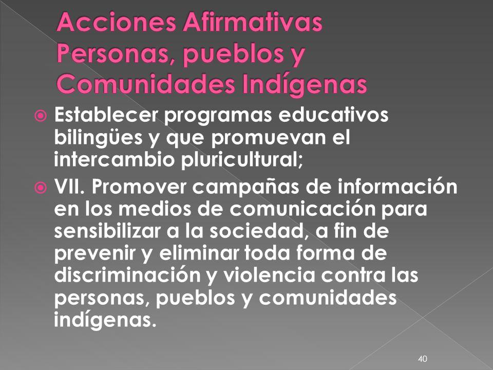 Acciones Afirmativas Personas, pueblos y Comunidades Indígenas