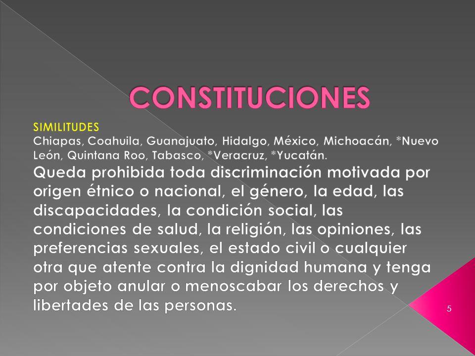 CONSTITUCIONES SIMILITUDES. Chiapas, Coahuila, Guanajuato, Hidalgo, México, Michoacán, *Nuevo León, Quintana Roo, Tabasco, *Veracruz, *Yucatán.