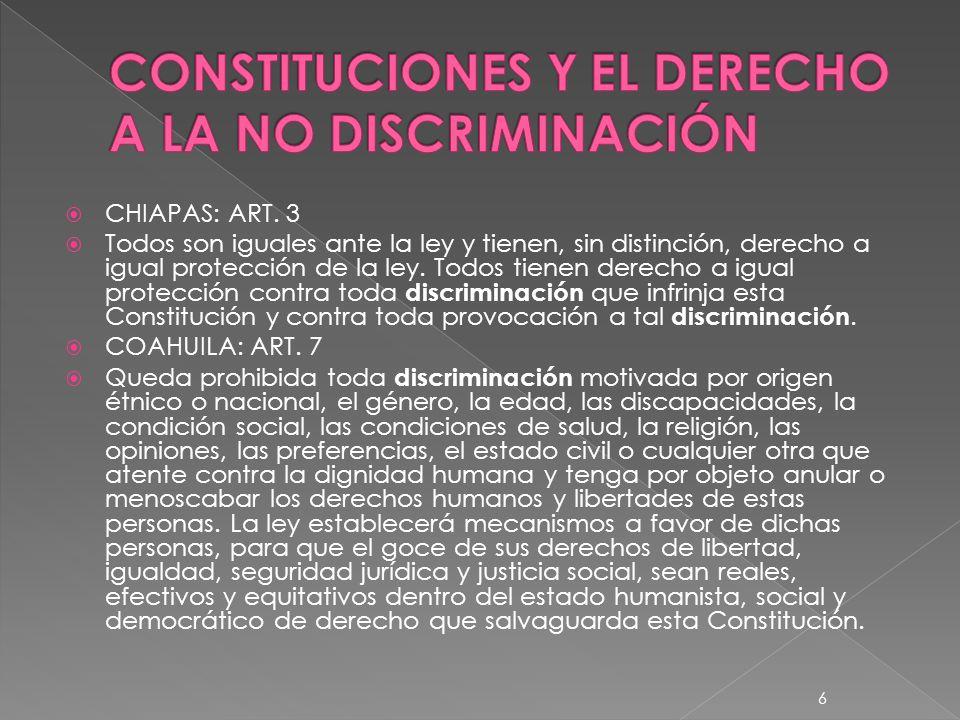 CONSTITUCIONES Y EL DERECHO A LA NO DISCRIMINACIÓN