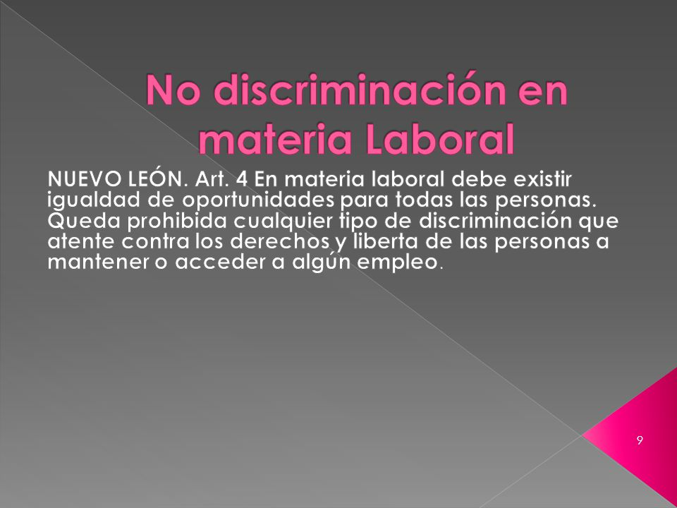 No discriminación en materia Laboral