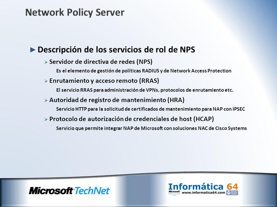 Network Policy Server Descripción de los servicios de rol de NPS