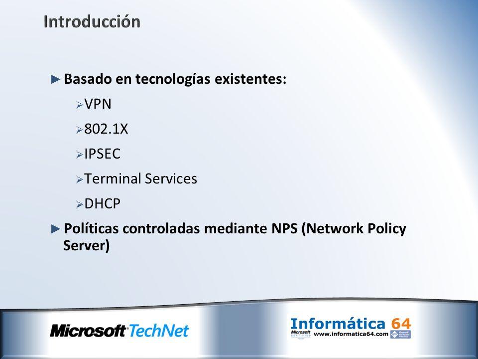 Introducción Basado en tecnologías existentes: VPN 802.1X IPSEC