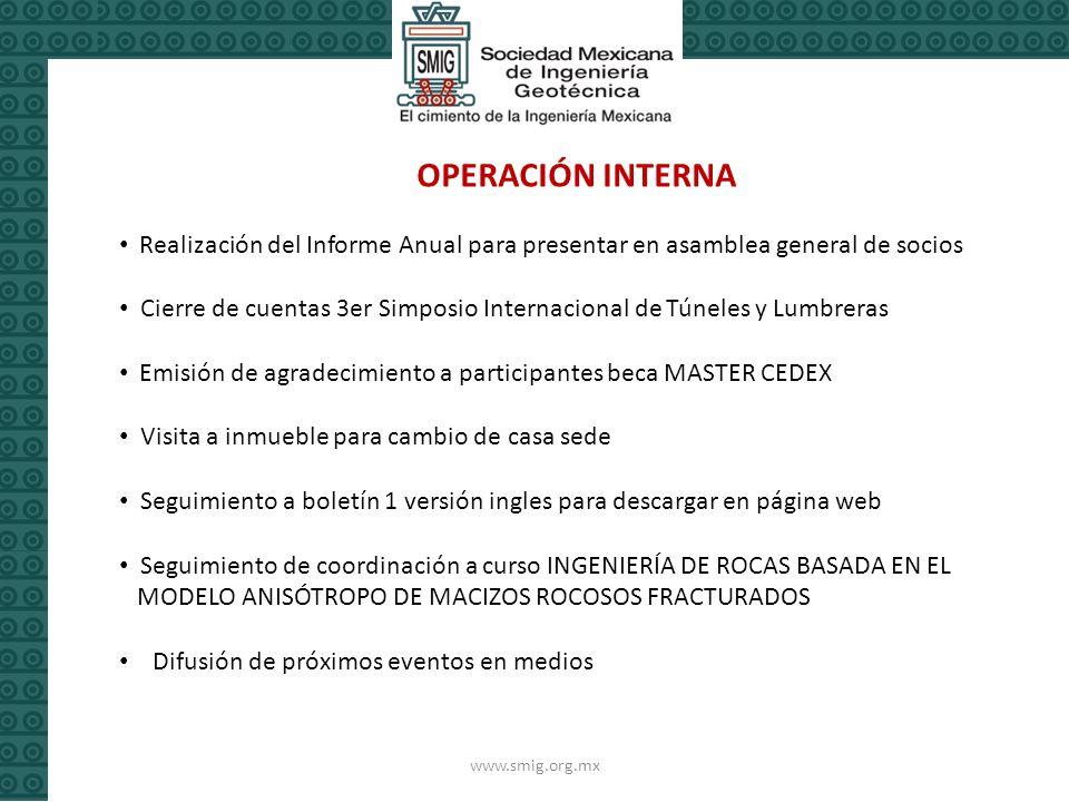OPERACIÓN INTERNA Realización del Informe Anual para presentar en asamblea general de socios.