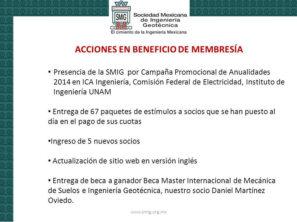 ACCIONES EN BENEFICIO DE MEMBRESÍA