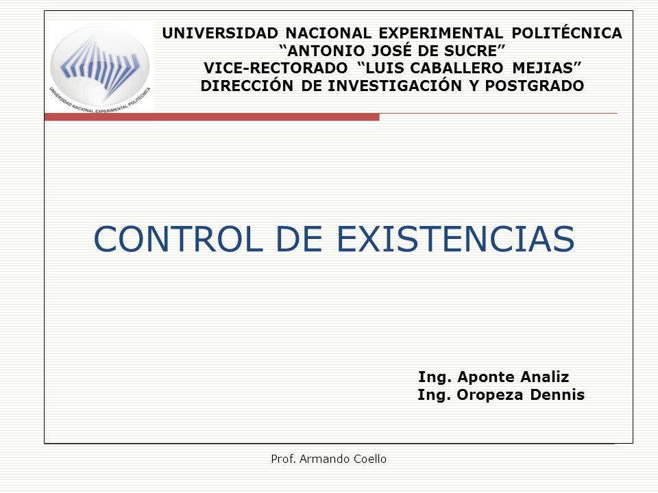 CONTROL DE EXISTENCIAS