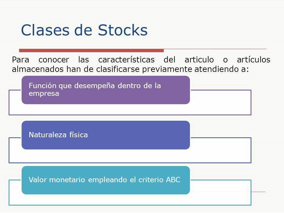 Clases de Stocks Para conocer las características del articulo o artículos almacenados han de clasificarse previamente atendiendo a:
