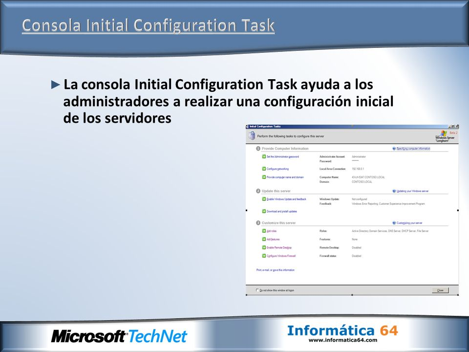 Consola Initial Configuration Task