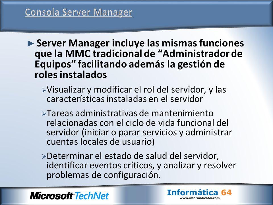 Consola Server Manager