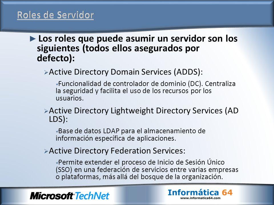 Roles de Servidor Los roles que puede asumir un servidor son los siguientes (todos ellos asegurados por defecto):