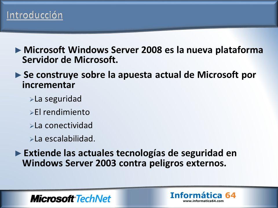 Introducción Microsoft Windows Server 2008 es la nueva plataforma Servidor de Microsoft.