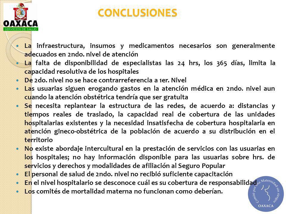 CONCLUSIONES La infraestructura, insumos y medicamentos necesarios son generalmente adecuados en 2ndo. nivel de atención.