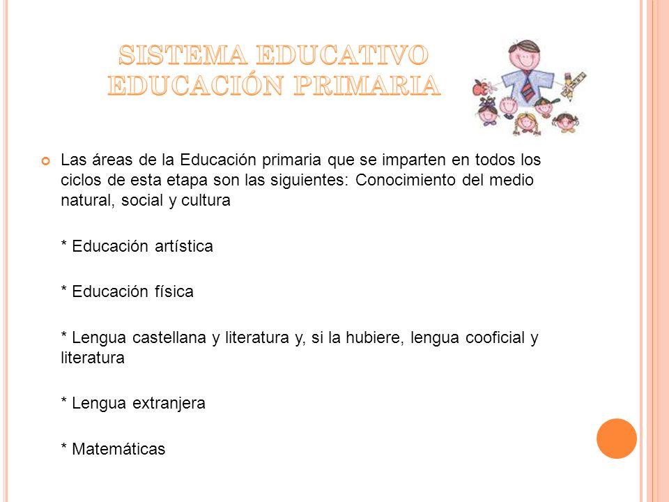 SISTEMA EDUCATIVO EDUCACIÓN PRIMARIA