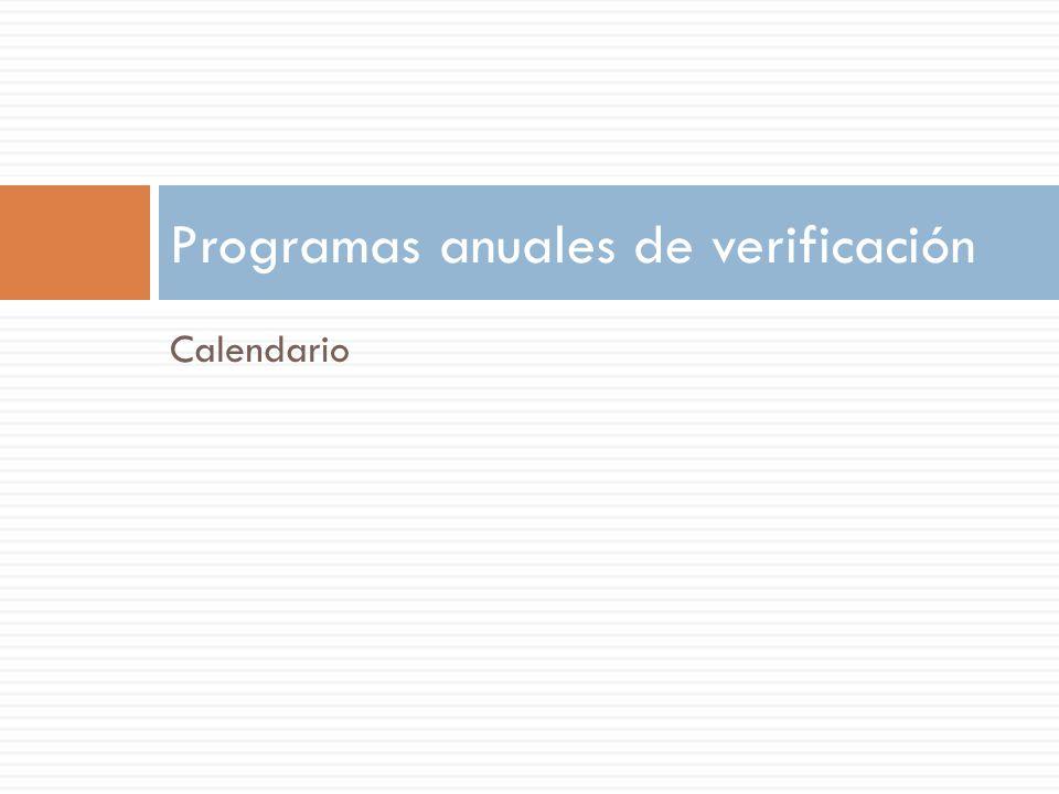 Programas anuales de verificación
