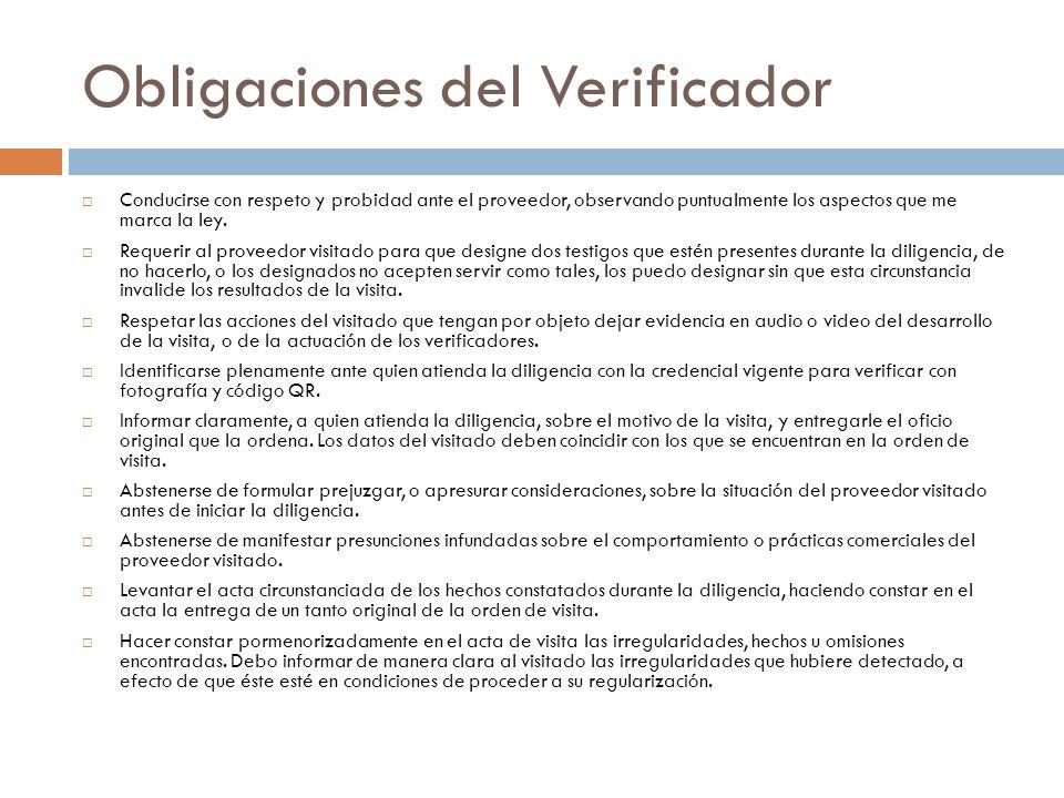 Obligaciones del Verificador