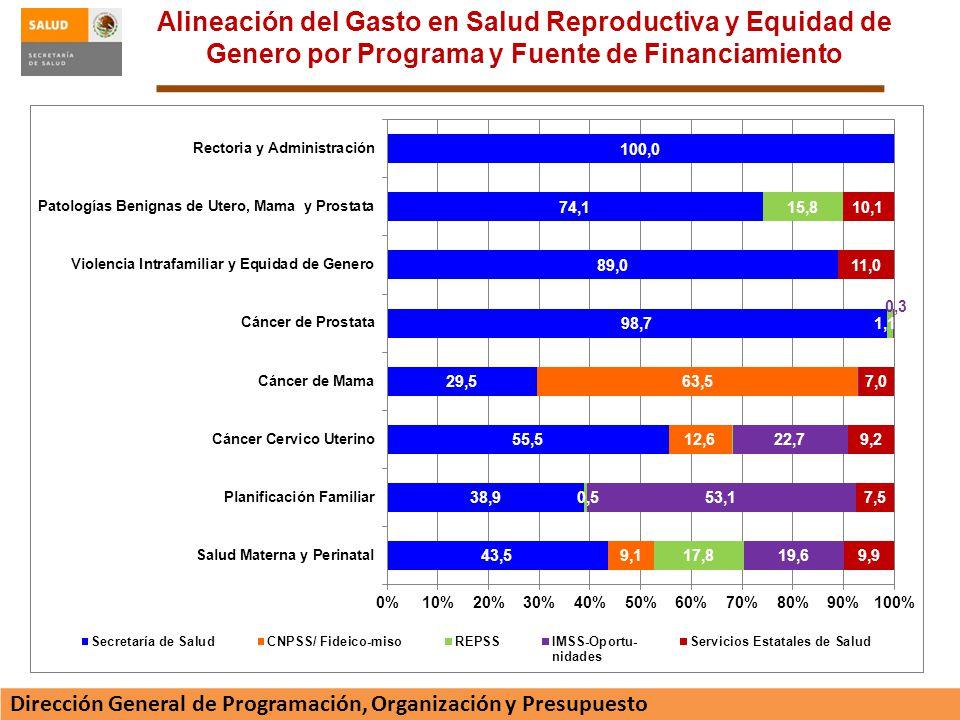 Alineación del Gasto en Salud Reproductiva y Equidad de Genero por Programa y Fuente de Financiamiento