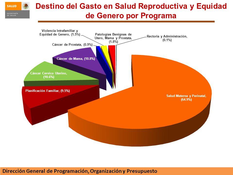 Destino del Gasto en Salud Reproductiva y Equidad de Genero por Programa