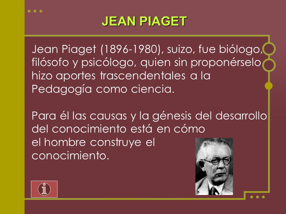 JEAN PIAGET Jean Piaget (1896-1980), suizo, fue biólogo,