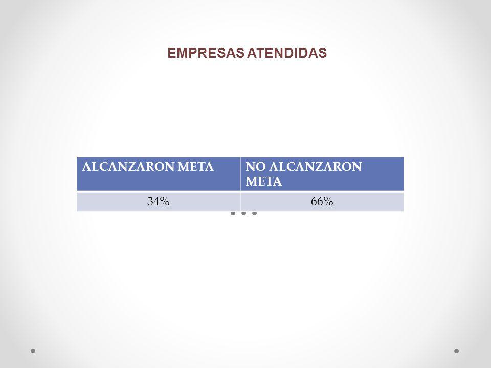 EMPRESAS ATENDIDAS ALCANZARON META NO ALCANZARON META 34% 66%