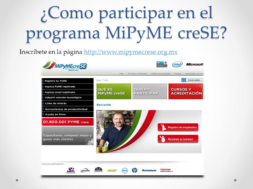 ¿Como participar en el programa MiPyME creSE