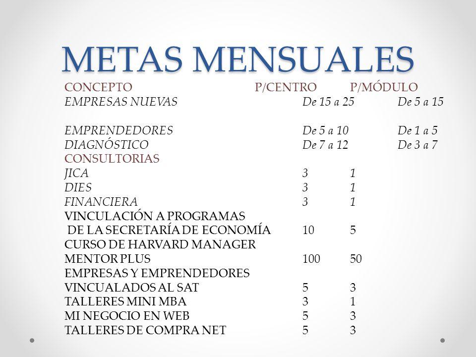 METAS MENSUALES CONCEPTO P/CENTRO P/MÓDULO