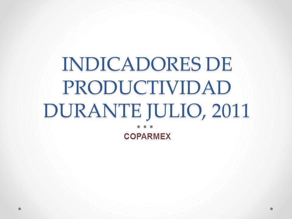 INDICADORES DE PRODUCTIVIDAD DURANTE JULIO, 2011