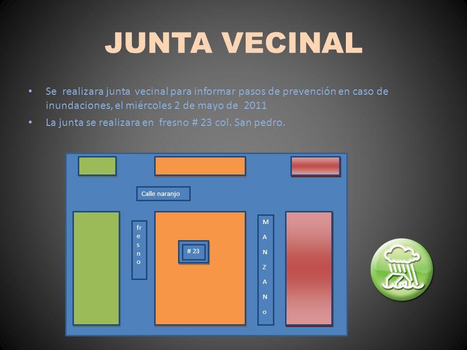 JUNTA VECINAL Se realizara junta vecinal para informar pasos de prevención en caso de inundaciones, el miércoles 2 de mayo de 2011.