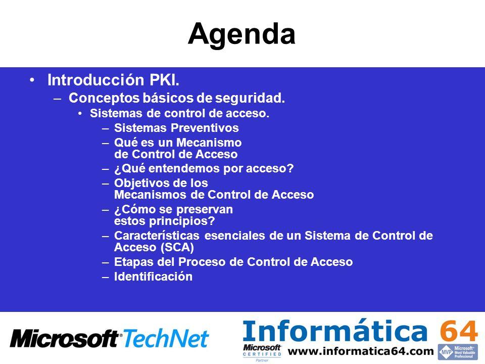 Agenda Introducción PKI. Conceptos básicos de seguridad.