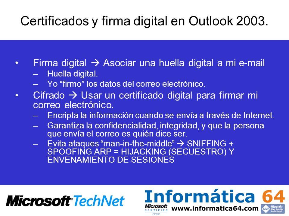 Certificados y firma digital en Outlook 2003.