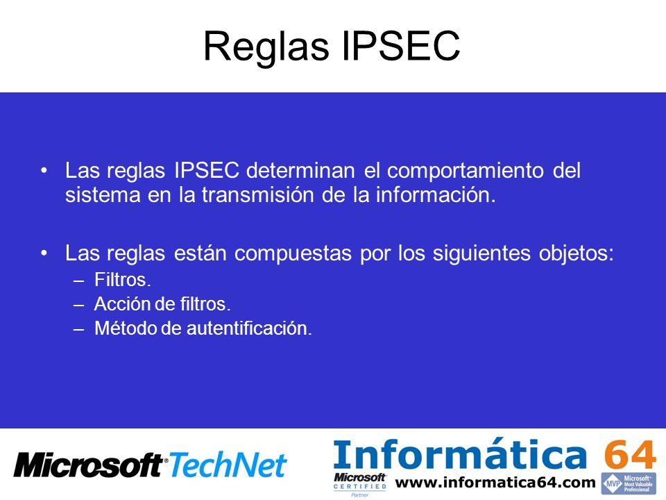 Reglas IPSEC Las reglas IPSEC determinan el comportamiento del sistema en la transmisión de la información.